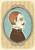 Vintage Gentleman Face Portraits.vector Illustration