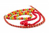 Handmade Wooden Necklace Round Colorful Piece Bead