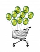 pic of caddy  - black silhouette of a shopping caddy flying attached to some green balloons with a gold sign of dollar - JPG
