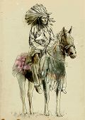 foto of paint horse  - Indian chief sitting on a horse - JPG