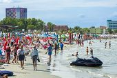 Tourists On Mamaia Beach