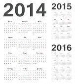 Russian 2014, 2015, 2016 Year Vector Calendars