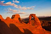 Dedicated Arch under Sunset in Arches National Park,Utah