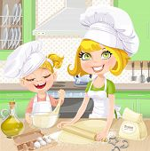 Mom and daughter baking cookies in the kitchen