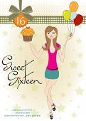 stock photo of sweet sixteen  - Sweet Sixteen Birthday card with young girl - JPG