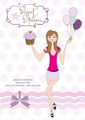 foto of sweet sixteen  - Sweet Sixteen Birthday card with young girl - JPG