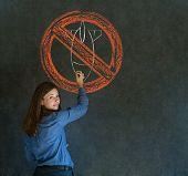 No War Pacifist Business Woman, Student, Teacher Or Politician On Blackboard Background