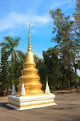 Golden Pagoda In Temple Of The Wat Rhai Pa, Trat, Thailand