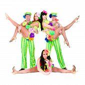 dancer team wearing a folk ukrainian costumes
