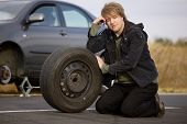 Changing tyre on a car