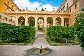 Courtyard with fontain of Casa de Pilatos, Seville, Andalusia, Spain