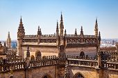 Roof and spires of the Saint Mary cathedral in Seville, Spain.