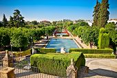 Gardens at the Alcazar de los Reyes Cristianos in Cordoba, Andalusia, Spain