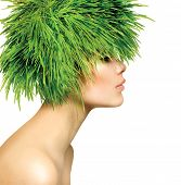 Beauty Spring Woman with Fresh Green Grass Hair. Summer Nature Girl portrait. Fashion Model
