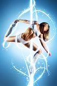 image of light-pole  - Young slim pole dance woman with lights - JPG
