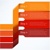 Red labels template for infographics. Vector