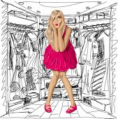 Fashion concept. Vector surprised blonde in pink dress do not know what to wear. All layers well org