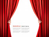 stock photo of curtain  - Background with red velvet curtain - JPG