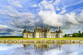 picture of chateau  - Chateau de Chambord royal medieval french castle and reflection - JPG