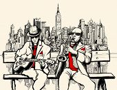 stock photo of guitar  - Vector illustration of two jazz men playing in New York  - JPG