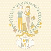 Family concept card with father, mother, daughter, baby and funny dog in vector. Cartoon background