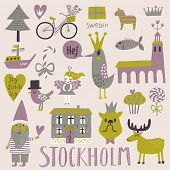 Stockholm concept set in vector. Cute stylish scandinavian set with house, church, gnome, birds, moose, bicycle, horse and other Stockholm symbols in bright colors