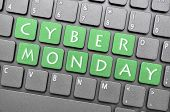 foto of monday  - Green Cyber Monday on keyboard - JPG