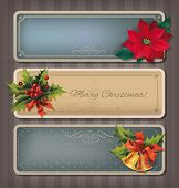 Christmas vintage banners set. Vector eps10.