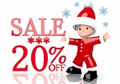 Christmas Sale 20 Percent Off Symbol Presented By Mini Santa Claus
