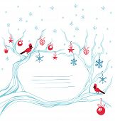 Christmas background cardinal bird  brunch decoration