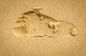 Sand Pattern Of  Trail Track On A Beach