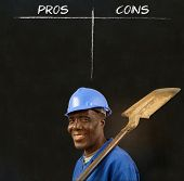 African American Black Man Worker With Chalk Pros And Cons Decision List