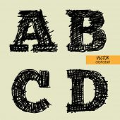 art sketched stylized alphabet in vector, black grungy ink font, signs A, B, C, D
