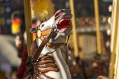picture of carousel horse  - Carousel horses on the city children - JPG