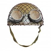 pic of ww2  - Retro helmet with goggles on a white background - JPG