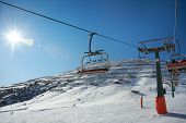 Ski Lifts And Slope With Protection From Avalanches