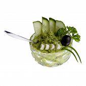 Avocado-cream in cristal-bowl