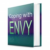 picture of envy  - Illustration depicting a text book with an envy concept title - JPG