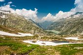 View From The Top Of The Grimsel Pass In Swiss Alps
