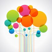 Set of colored circles and lines form the shape of an abstract tree. Concept network. The file is sa