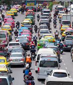 Very Bad Traffic In The Center Of Bangkok City