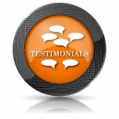 stock photo of tribute  - Shiny glossy icon with white design on orange background - JPG