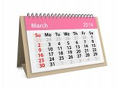 Monthly Calendar For New Year 2014. March