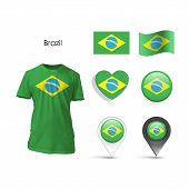 Set Of Brazil Design Over White Background