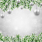 Christmas background with fir twigs and silver balls. Vector illustration.
