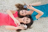 High angle view of two young female friends lying on rug and text messaging in the living room at ho
