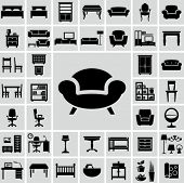 stock photo of sofa  - Furniture icons - JPG