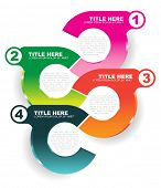 Abstract vector info colored illustration with four steps and place for text content on a white back
