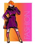 Fashion illustration with beautiful girl in violet coat. Vector.
