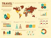 Retro travel infographic elements.